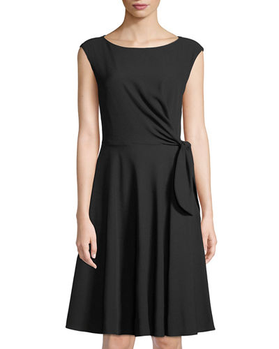 Bow-Front Sleeveless Crepe Dress