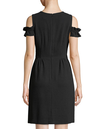 Cole-Shoulder Ruffle-Sleeve Mini Dress