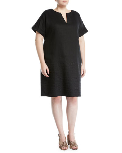 Fabian Eyelet Embroidered Tunic Dress, Plus Size