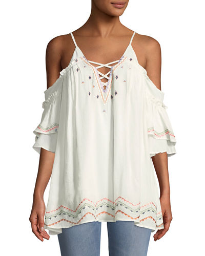Embroidered Swim Coverup Dress