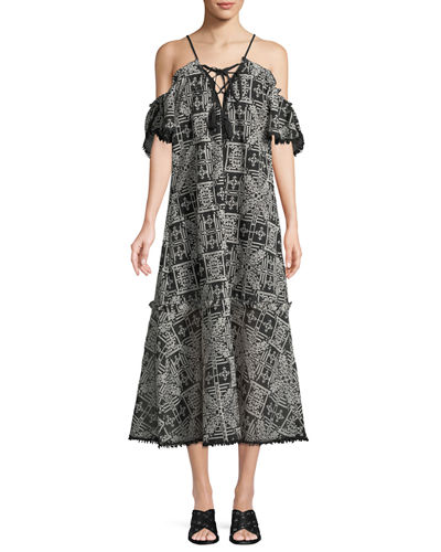 Jacquard Off-The-Shoulder Maxi Dress