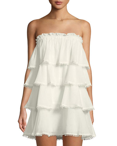 Strapless Ruffle-Tiered Dress