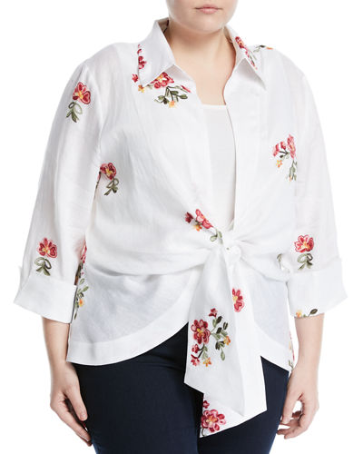 Embroidered Tie-Front Linen Blouse  Plus Size