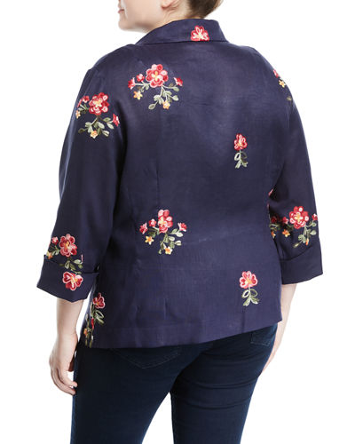 Embroidered Tie-Front Linen Blouse, Plus Size