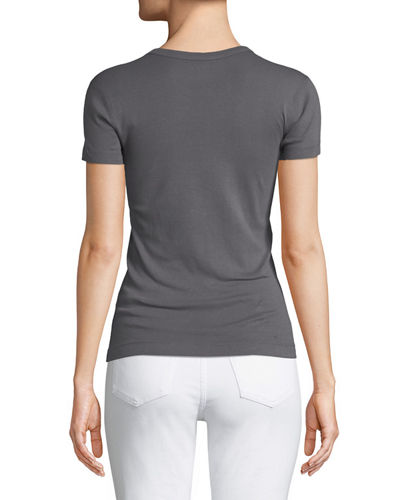 Short-Sleeve Fitted Combed Cotton Crewneck Tee