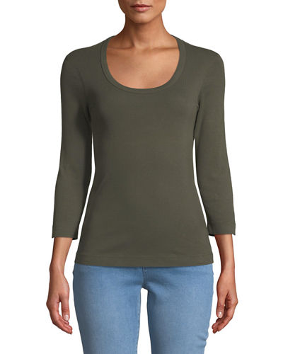 3/4-Sleeve Combed Cotton Scoop-Neck Tee