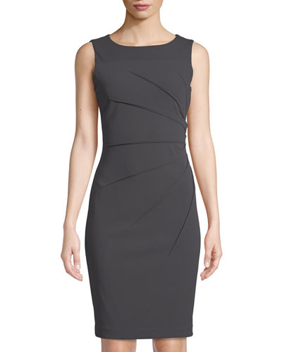 Iconic American Designer Starburst-Pleated Sheath Dress