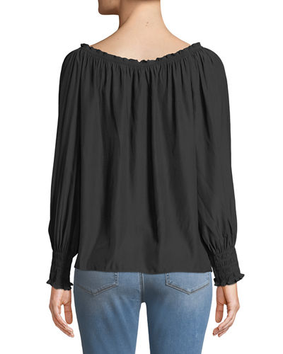 Beverly Long-Sleeve Peasant Blouse