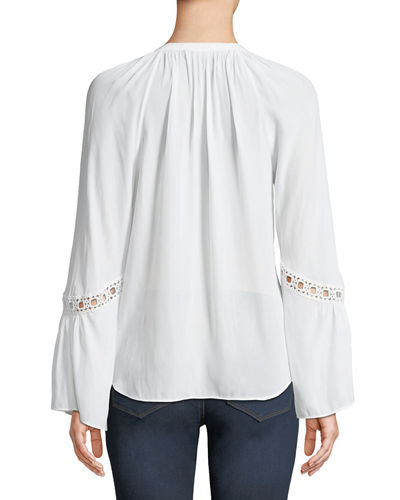 Harley Split-Neck Bell-Sleeve Blouse