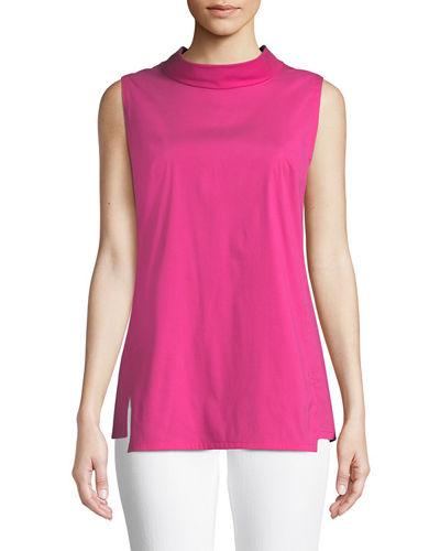 Raven High-Neck Sleeveless Poplin Tunic
