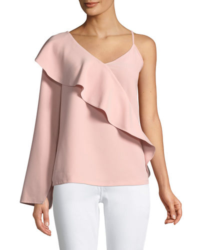 Asymmetric-Sleeve Ruffle Top