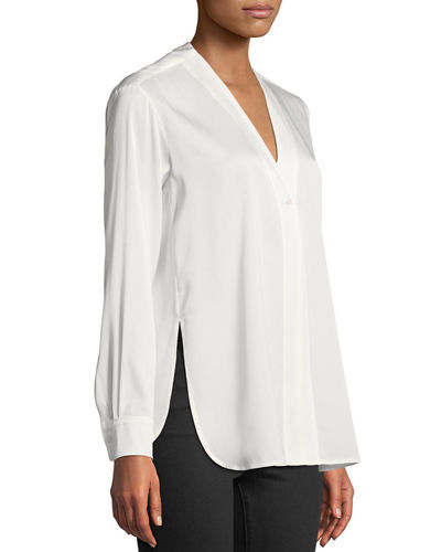 Button-Down Long-Sleeve Silk Top