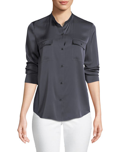 Stretch-Silk Button-Front Blouse