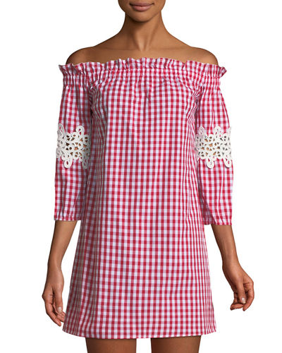 Off-The-Shoulder Gingham Mini Dress