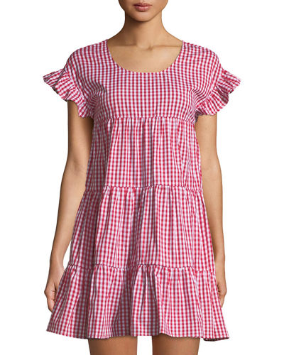 Gingham Tiered Mini Dress