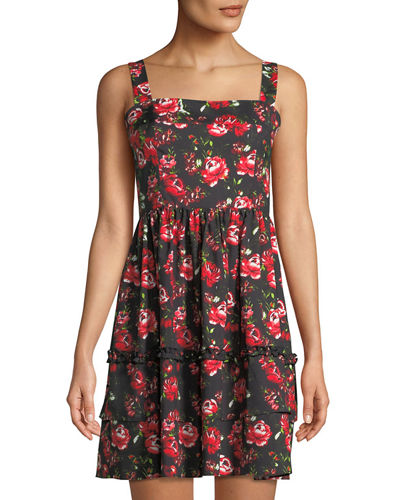 Square-Neck Floral Fit-&-Flare Tank Dress