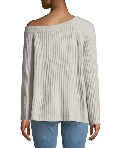 Aurelia Ribbed Wide-Sleeve Sweater