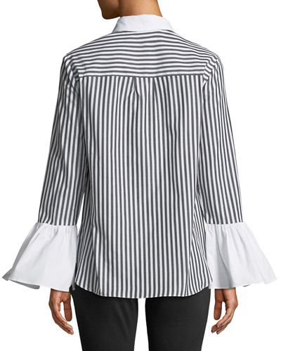 Pinstriped Flare-Sleeve Button-Front Blouse