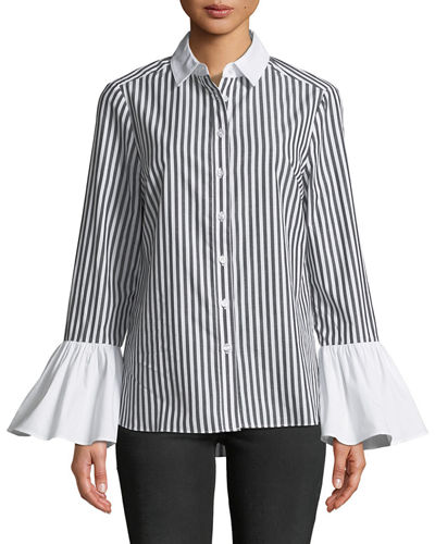 5Twelve Pinstriped Flare-Sleeve Button-Front Blouse