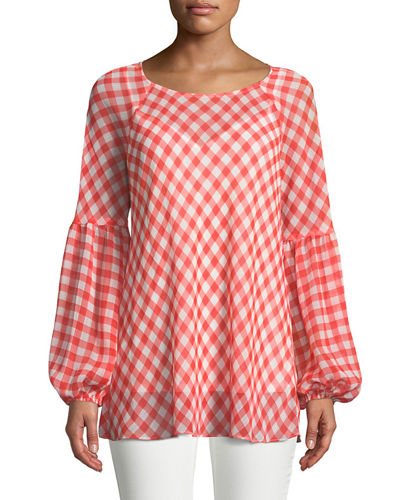 Gingham-Chiffon Balloon-Sleeve Blouse