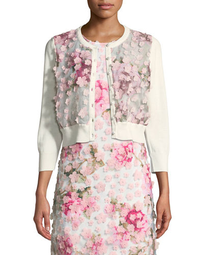 Floral-Applique Cropped Cardigan