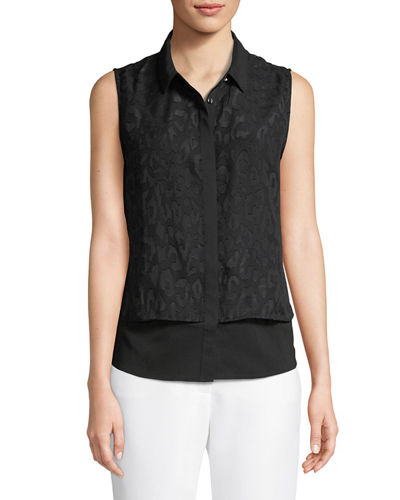 Rosette-Jacquard Double Layer Blouse