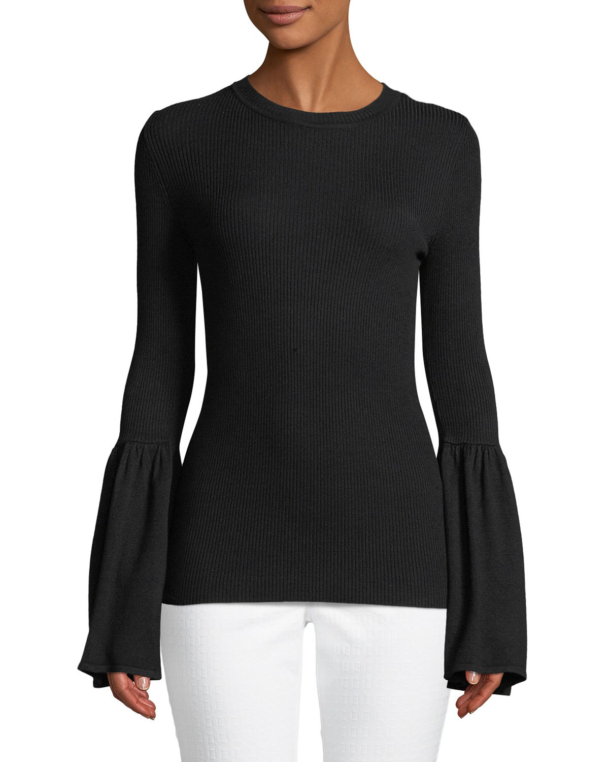 Ribbed Flare-Sleeve Pullover Sweater