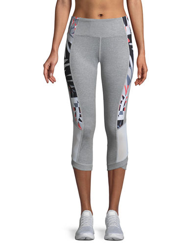 Print-Splice Capri Leggings