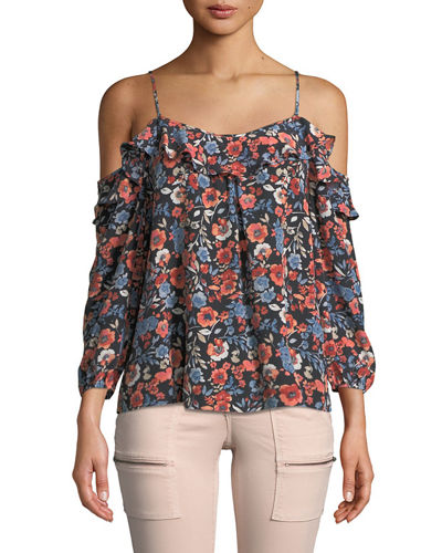 Birtha Cold-Shoulder Floral Blouse
