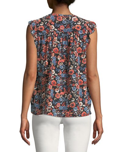 Mirabelle Crepe Split-Neck Blouse