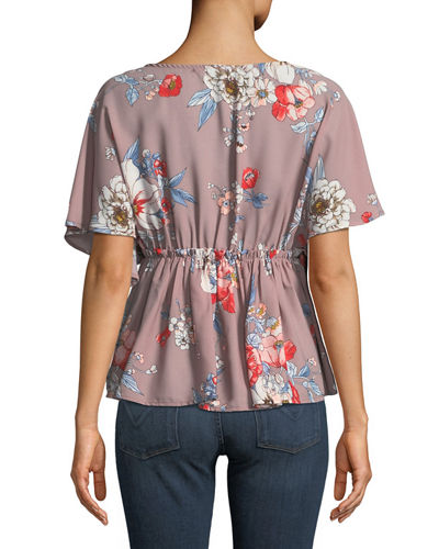 Floral-Print Surplice-Neck Blouse