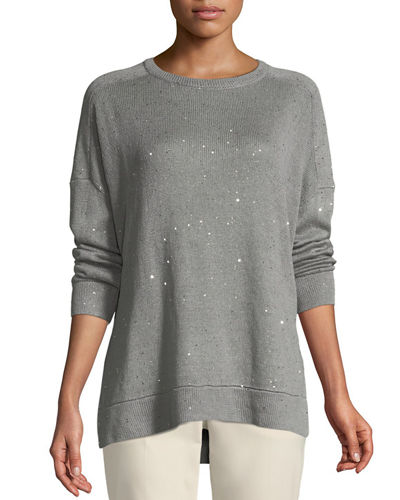 Linen-Silk Paillette Sweater