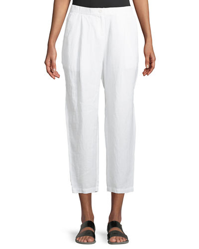 Eileen Fisher Organic Linen-Crepe Pleated Ankle Trouser Pants