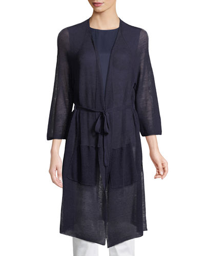 Eileen Fisher Linen-Blend Belted Cardigan, Plus Size