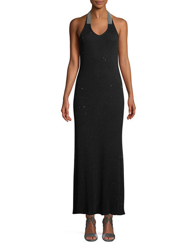 Monili-Halter Backless Shimmer Gown