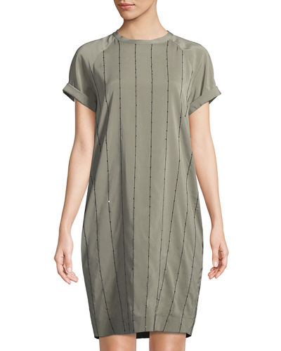 Monili-Striped Satin Tee-Shirt Dress