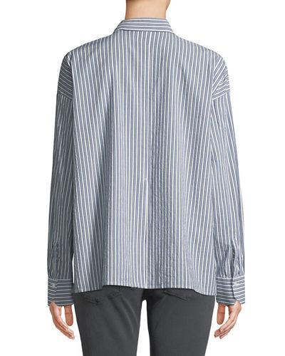 Striped Boxy Button-Front Shirt