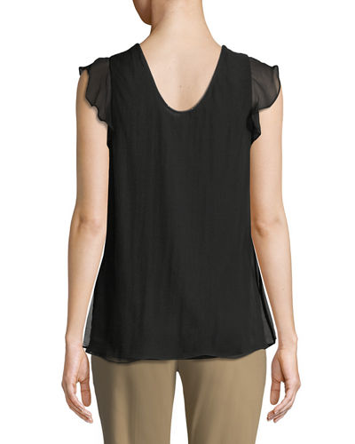 Monili-Beaded Layered-Silk Tee