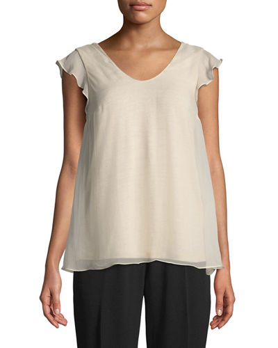 Brunello Cucinelli Monili-Beaded Layered-Silk Tee