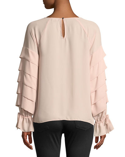 Ruffle-Tiered Tie-Sleeve Blouse