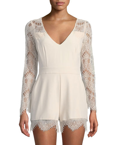 Erma Long-Sleeve Lace Romper