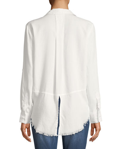 Riley Fringe-Hem Button-Front Blouse