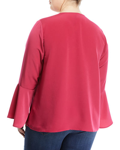 Bell-Sleeve Button-Keyhole Blouse, Plus Size
