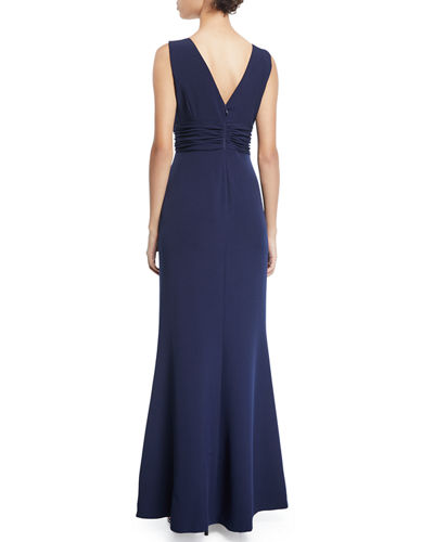 Sleeveless V-Neck Gown