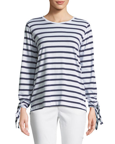 Tie-Sleeve Nautical-Stripe Tee