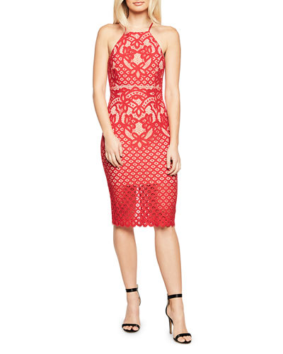 Mila Lace High-Neck Dress