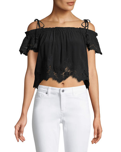 Nadia Tie-Shoulder Crop Blouse