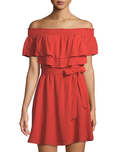 Suntime Off-The-Shoulder Ruffled Dress