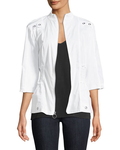 Claude 3/4-Sleeve Zip-Front Jacket