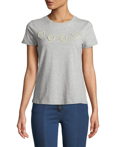 Cool Faux-Pearl Embellished T-Shirt